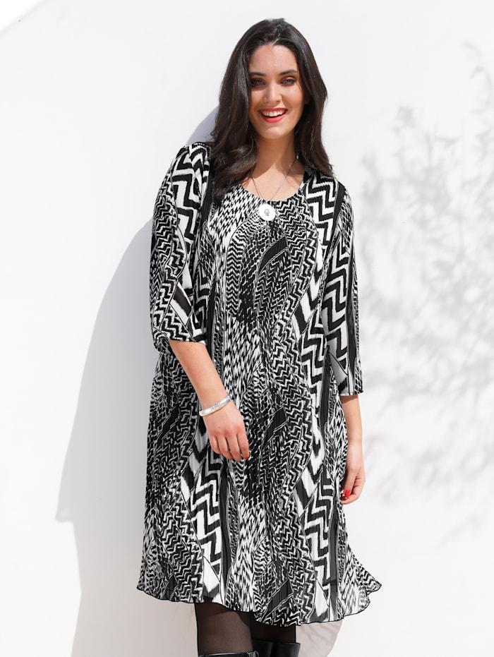 MIAMODA Kleid aus Plissee-Qualität, Schwarz/Weiß
