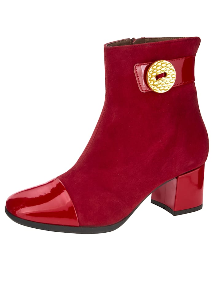 Stiefelette mit edler Knopf-Applikation, Rot