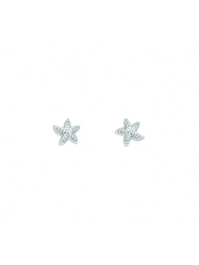 1001 Diamonds Damen Silberschmuck 925 Silber Ohrringe / Ohrstecker Seestern, silber