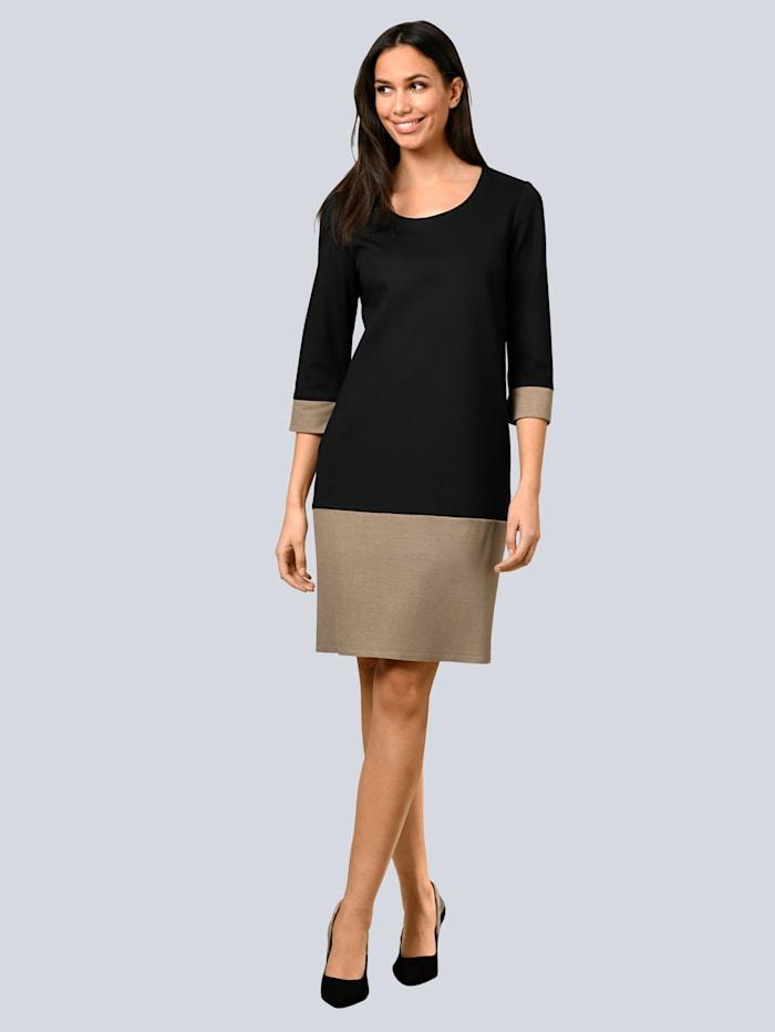 Alba Moda Kleid mit breiter Saumblende, Schwarz/Beige