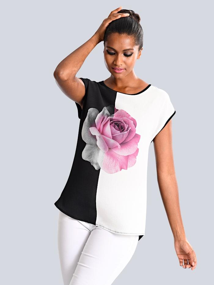 Alba Moda Shirt met bloemenprint, Zwart