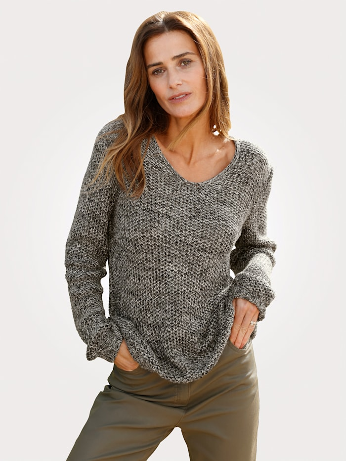 MONA Pull-over en maille chinée, Olive/Coloris or