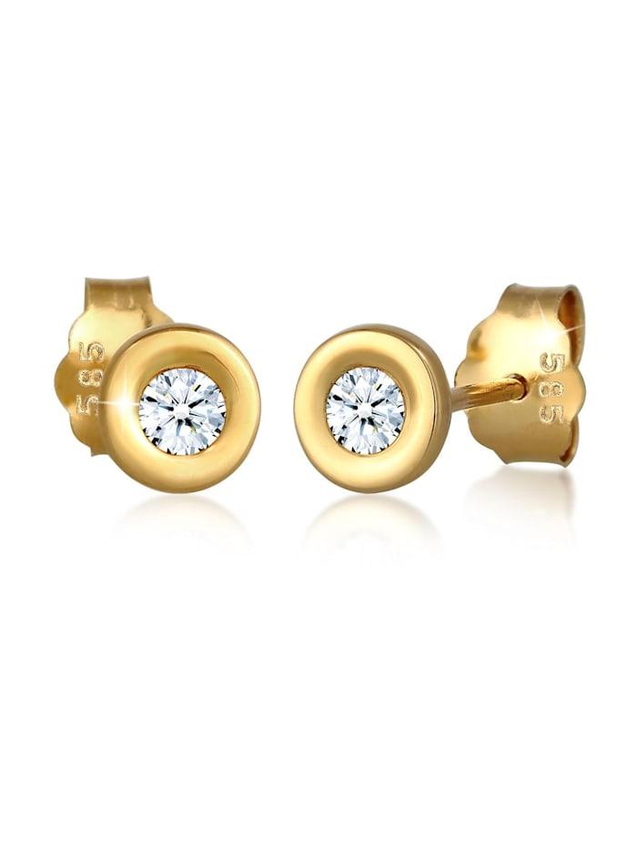 DIAMORE Ohrringe Klassisch Solitär Diamant (0.12 Ct.) 585 Gelbgold, Weiß