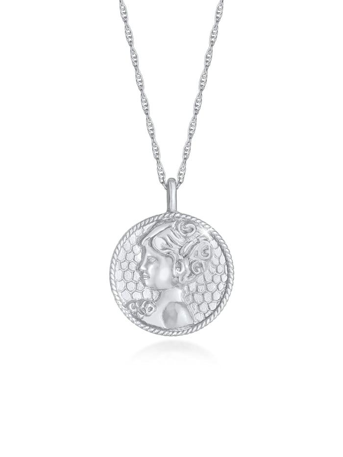 Elli Halskette Sternzeichen Jungfrau Münze 925 Silber, Silber