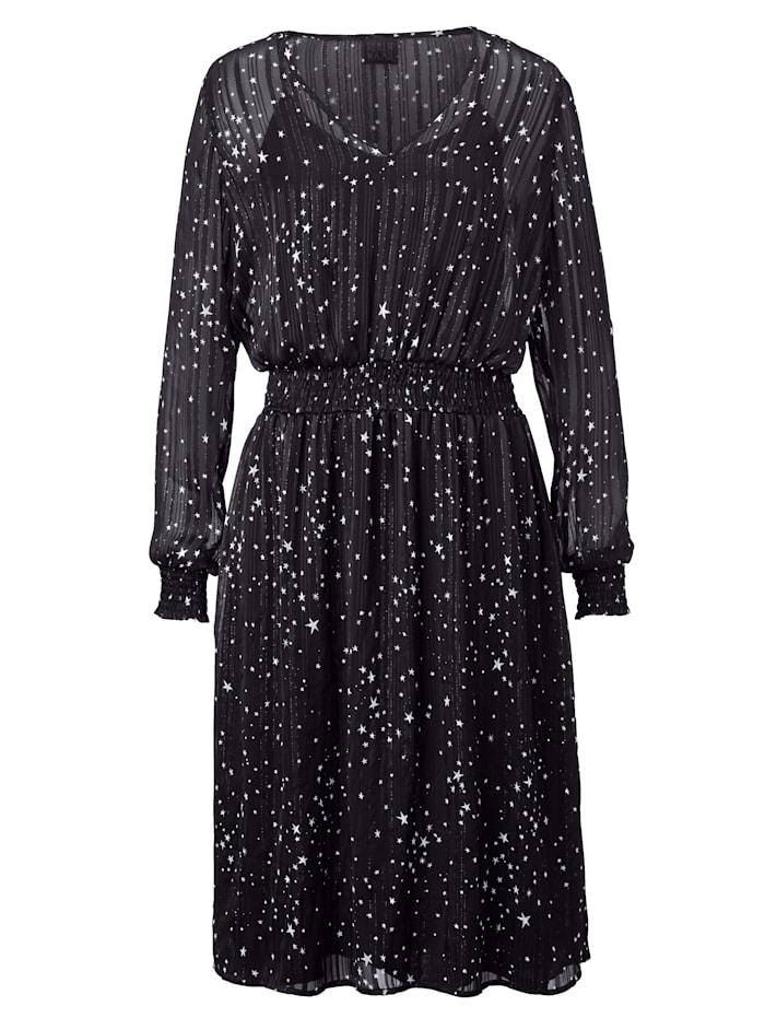 REKEN MAAR Kleid mit Sternen-Druck, Schwarz/Weiß