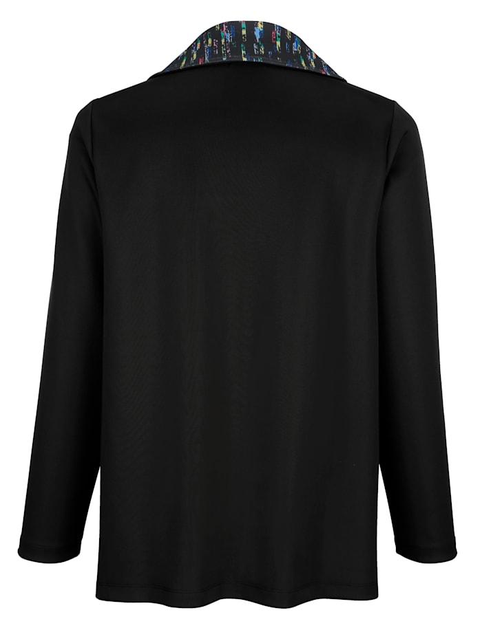 Tričkový kabátik vpredu so vsadkami s pestrou potlačou