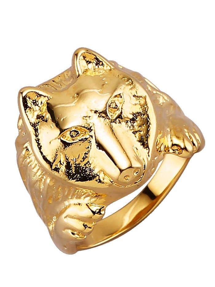 Diemer Gold Wolf-Herrenring in Silber 925, vergoldet, Gelb