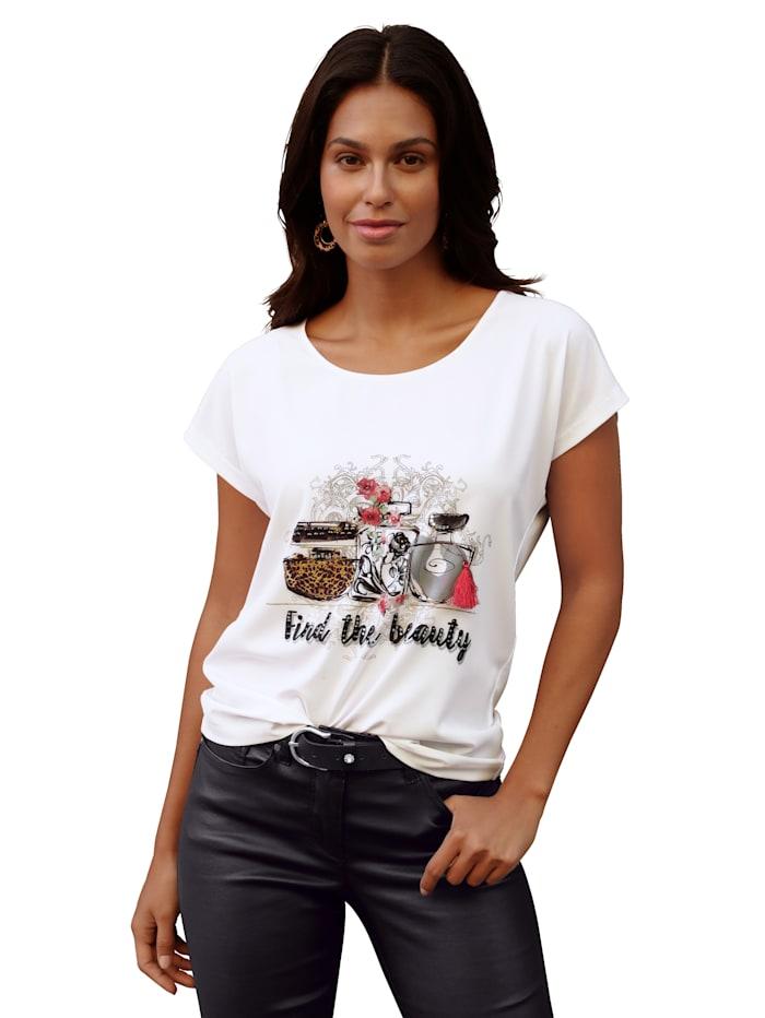 AMY VERMONT Shirt mit Parfum-Druck und Strasssteindeko, Weiß