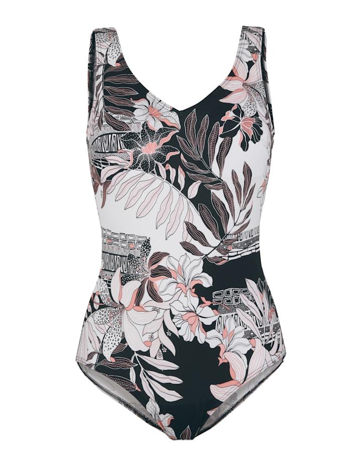 Maritim Badeanzug mit modischem Floraldruck, Apricot/Schwarz