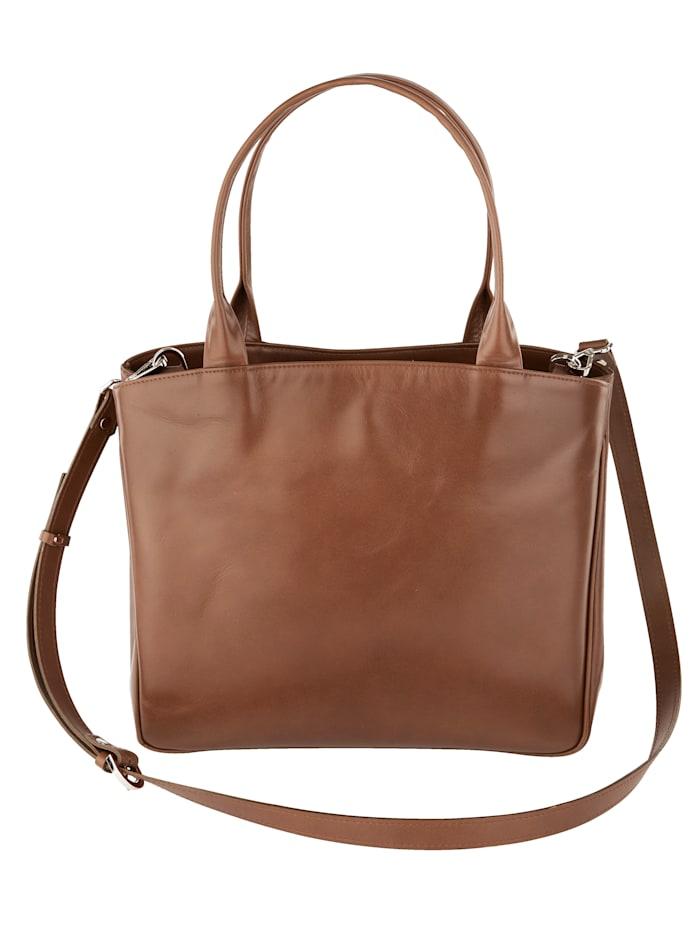 Vamos Handtasche aus hochwertigem Leder, cognac