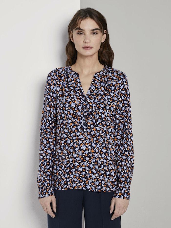 Tom Tailor Nena & Larissa: Bluse mit Turn-Up-Details, navy floral design