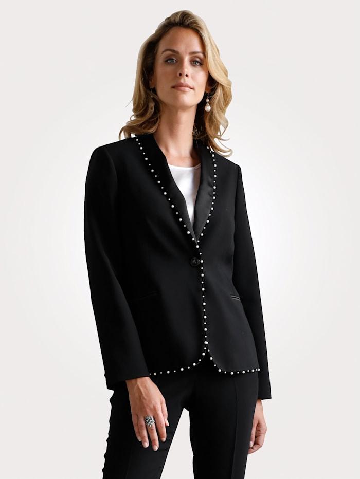 MONA Blazer avec bande en velours et ornement de perles, Noir