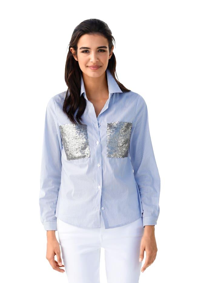 AMY VERMONT Bluse mit aufgesetzten Taschen aus Pailletten, Hellblau/Weiß