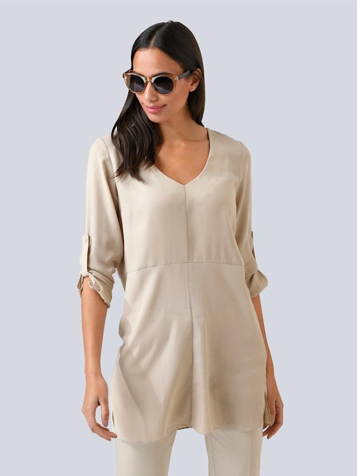 Alba Moda Bluse in modischer Longform, Beige