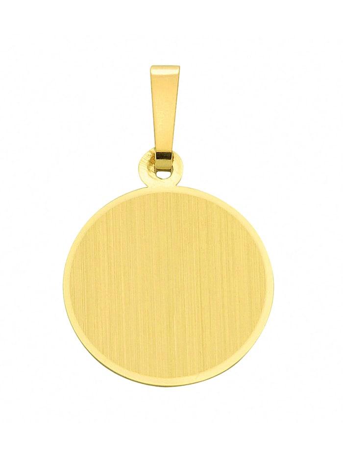 1001 Diamonds Damen Goldschmuck 585 Gold Gravurplatte Anhänger Ø 13,6 mm, gold