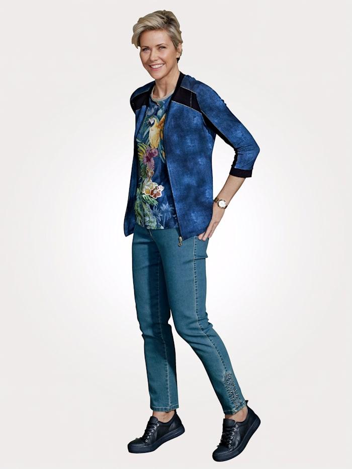 Jeans mit Bandbesatz am Saum