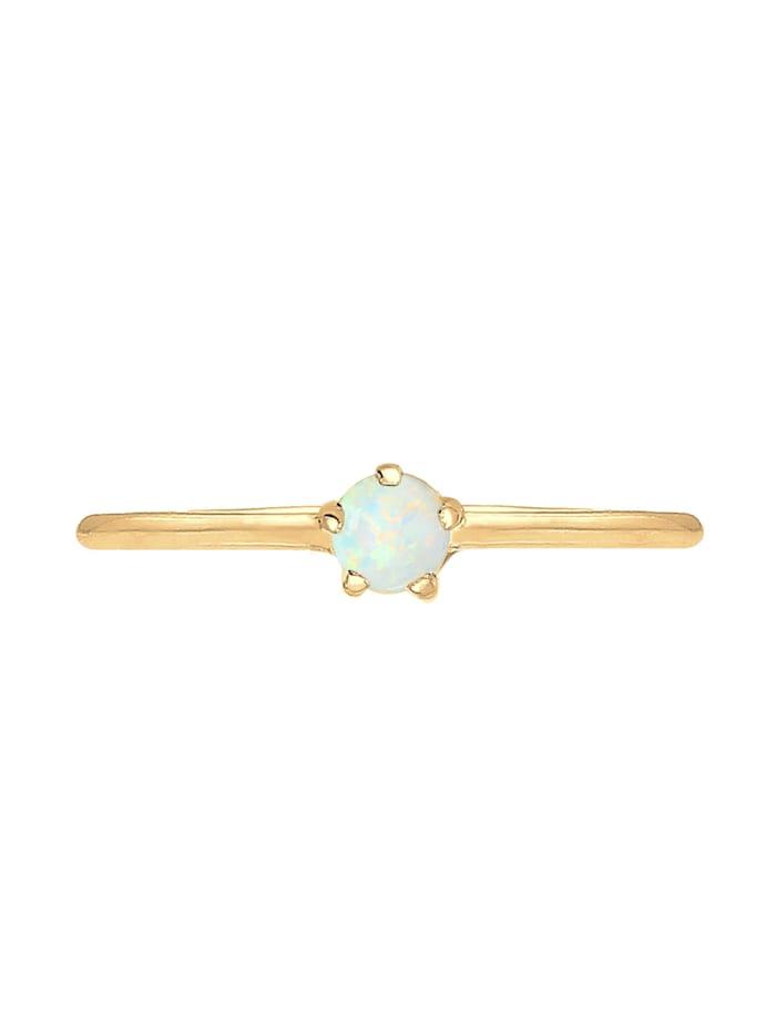 Ring Basic Trend Bandring Synthetischer Opal 925 Silber