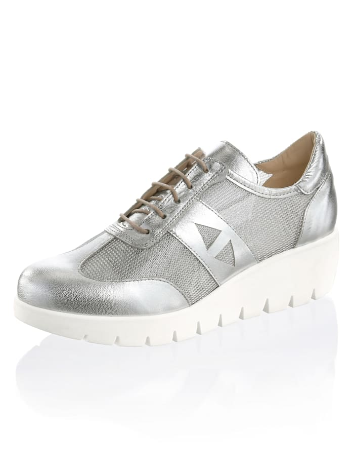 Alba Moda Sneaker in allover Metallic, Silberfarben