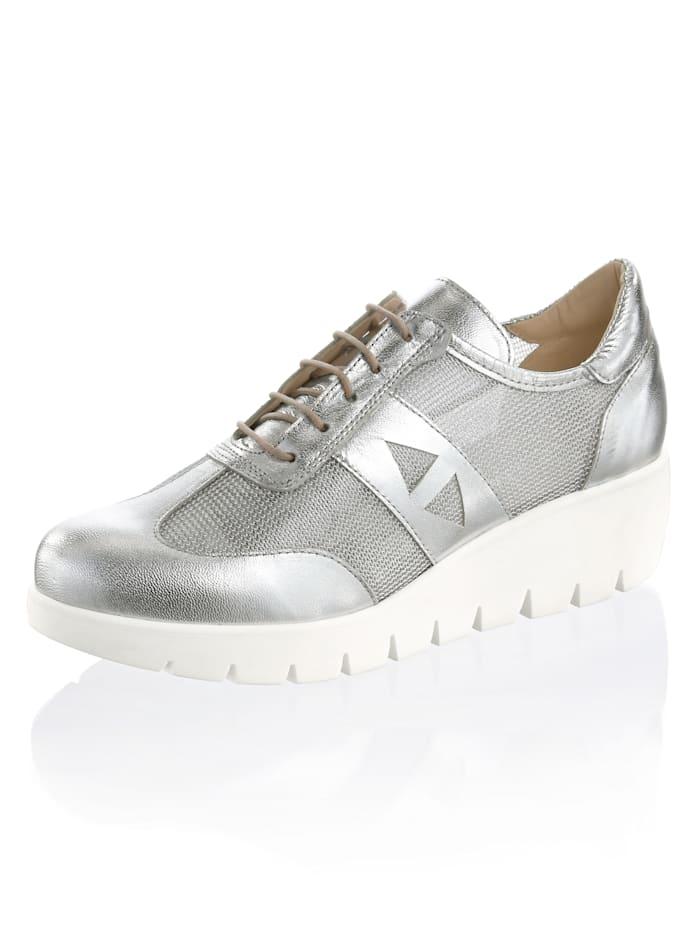 Alba Moda Sneaker in metallic look, Zilverkleur