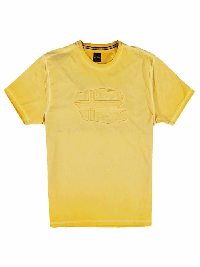 Engbers T-Shirt Rundhals mit Stickerei, Rapsgelb