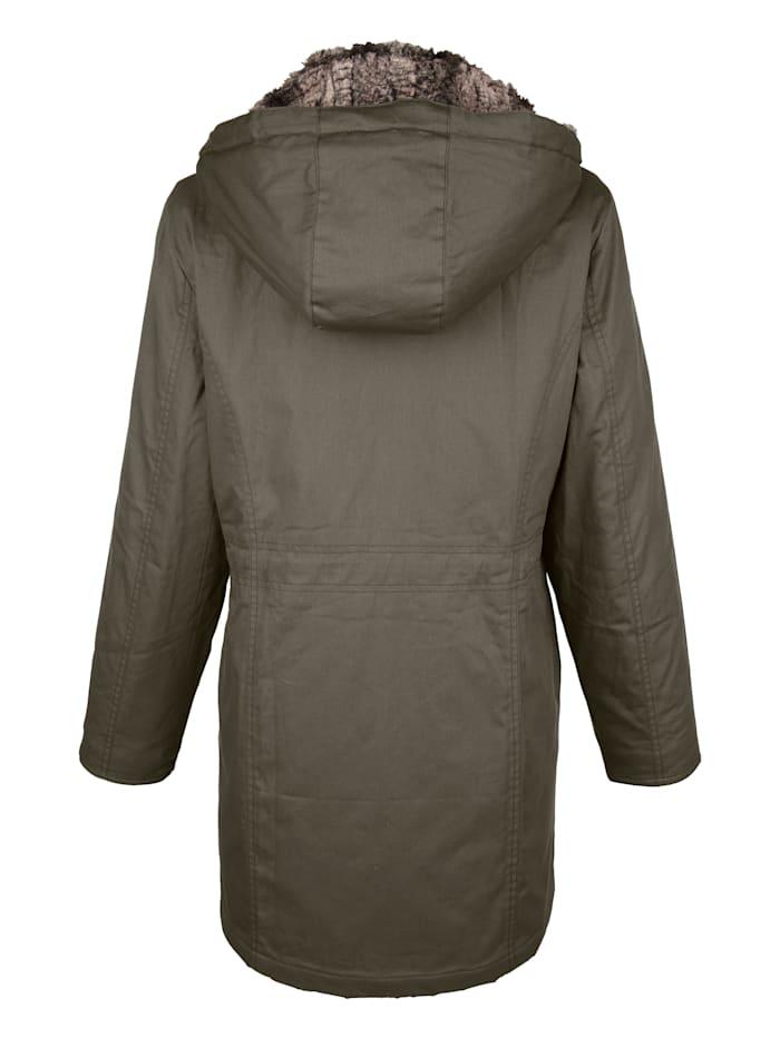 Veste à capuche fourrure synthétique amovible