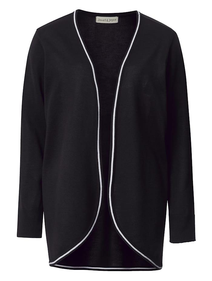 Janet & Joyce Vest zonder sluiting, Zwart/Wit
