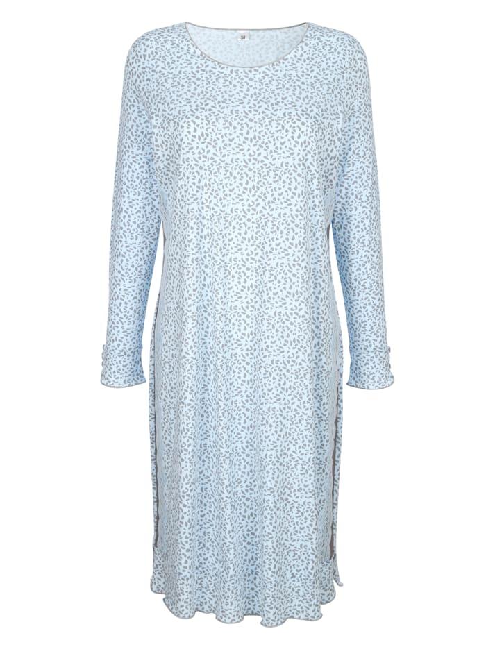 Simone Nachthemd met kanten inzet opzij, Lichtblauw/Grijs