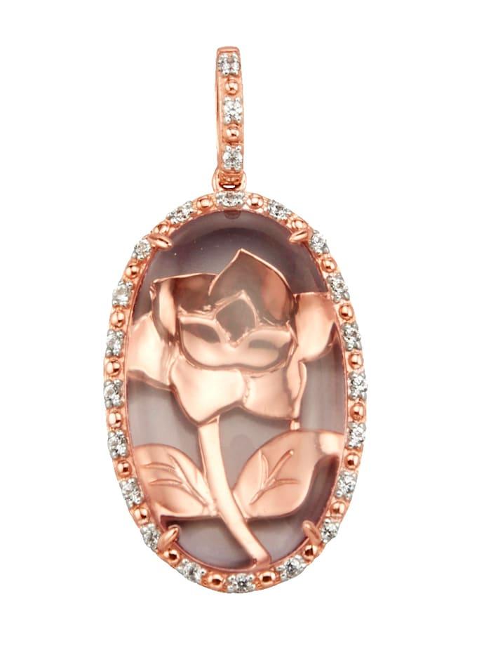 Diemer Farbstein Anhänger mit Rosenquarz, Rosé