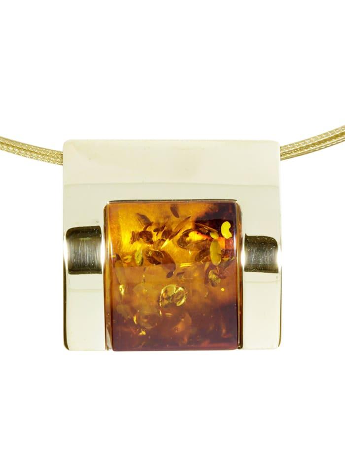OSTSEE-SCHMUCK Halsreif mit Anhänger - Gleiter-Urte - Gold 333/000 - Bernstein, gold