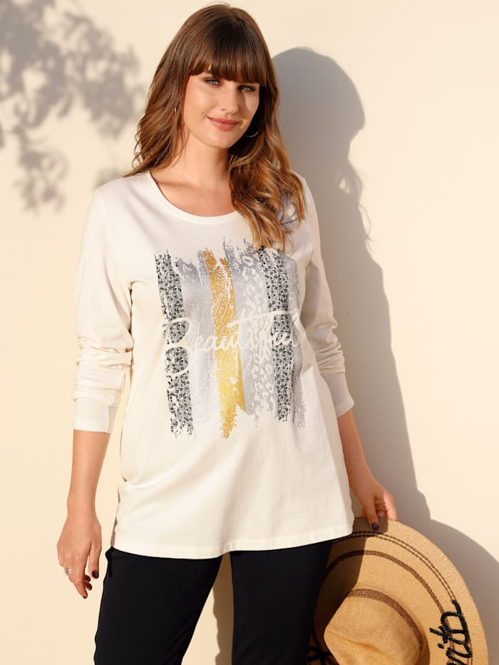 MIAMODA Shirt mit dekorativem Druck, Creme-Weiß