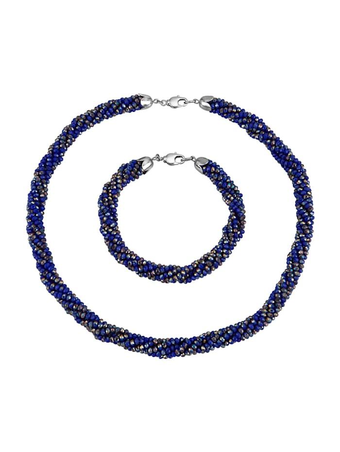 2tlg. Schmuck-Set aus blauen Glaskristallen, Blau