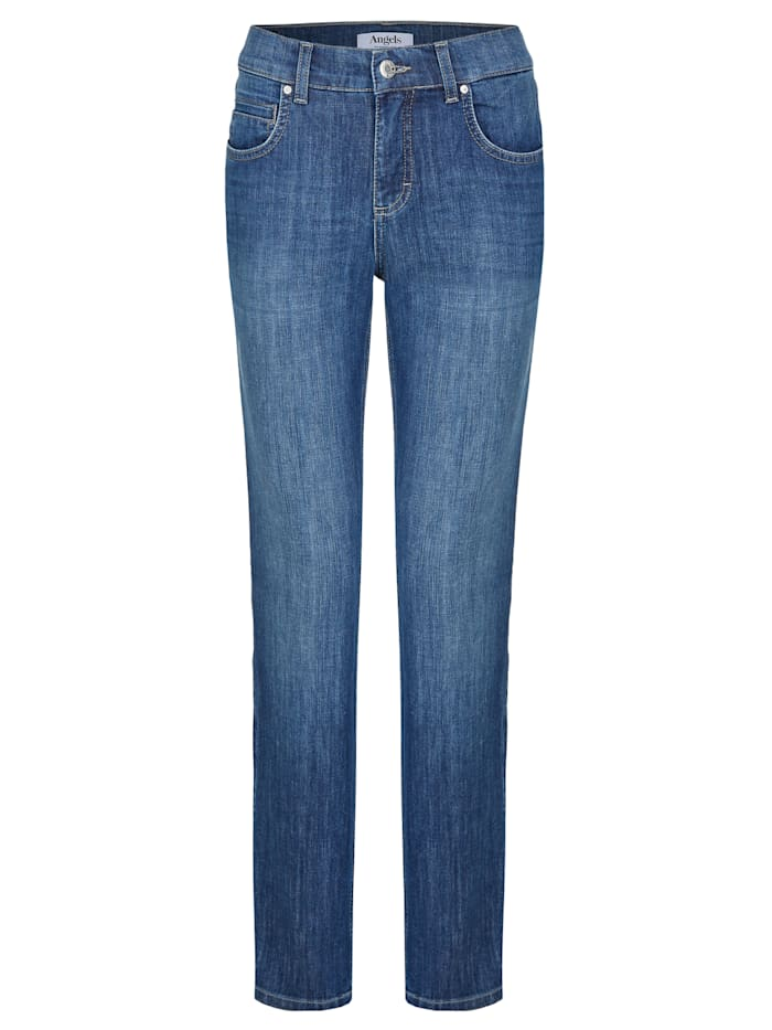 Angels Jeans ,Cici' mit Stern-Detail, mid blue used buffi