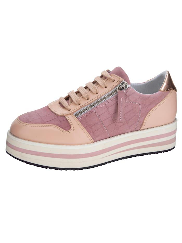 Plateausneaker in modischem Kroko-Look, Rosé