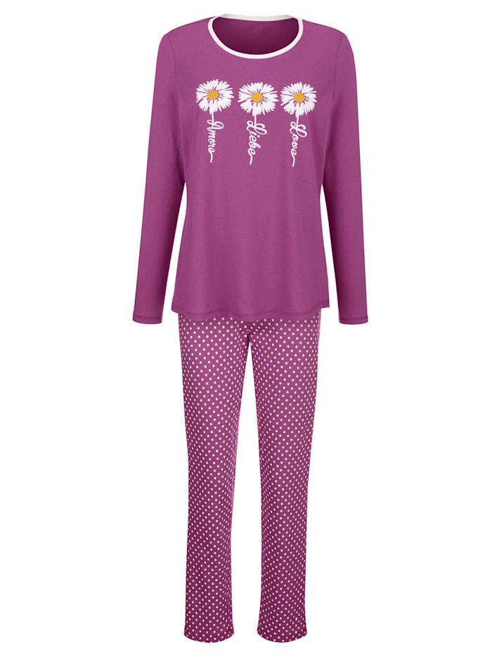 Blue Moon Pyžamo s hezkým potiskem květů, Fuchsie/Bílá
