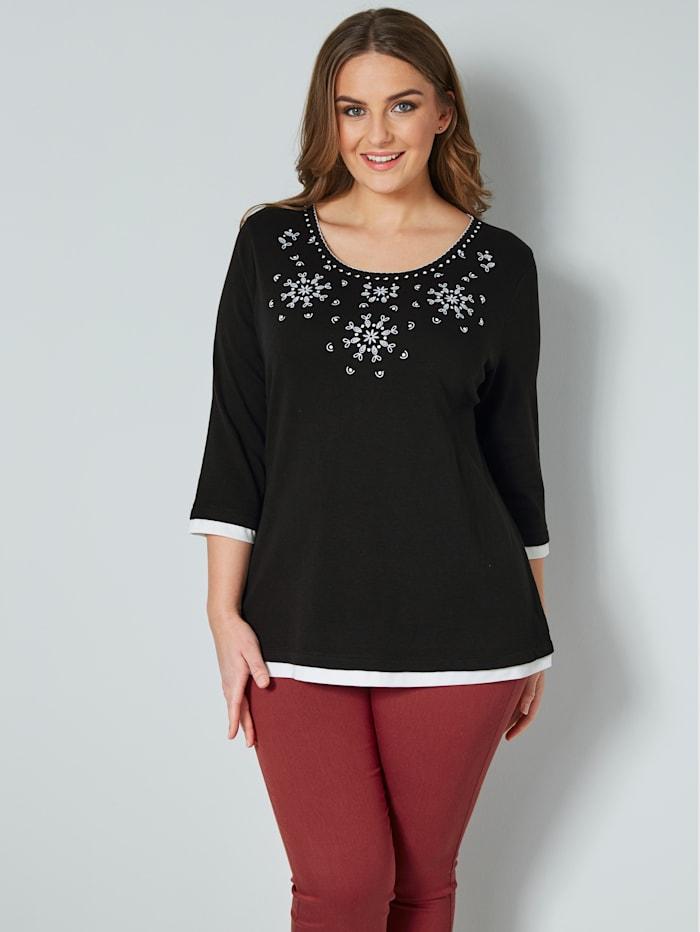 Janet & Joyce Shirt met borduursel, Zwart/Wit