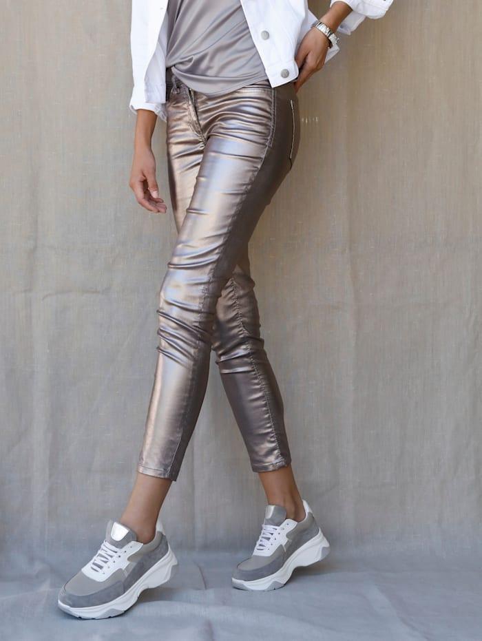 AMY VERMONT Pantalon avec enduction argentée, Coloris argent
