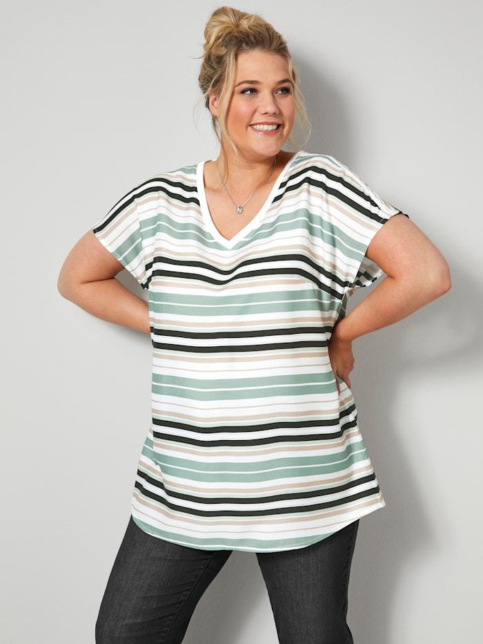 Janet & Joyce Blusen-Shirt mit überschnittener Schulter, Weiß/Schwarz/Jade/Beige