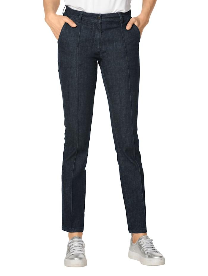 AMY VERMONT Jeans met doorgestikte biezen, Donkerblauw