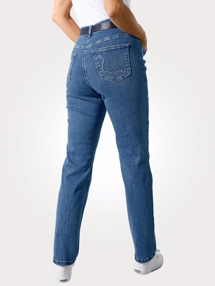 MONA Jeans mit Strasszier und Stickerei, Hellblau