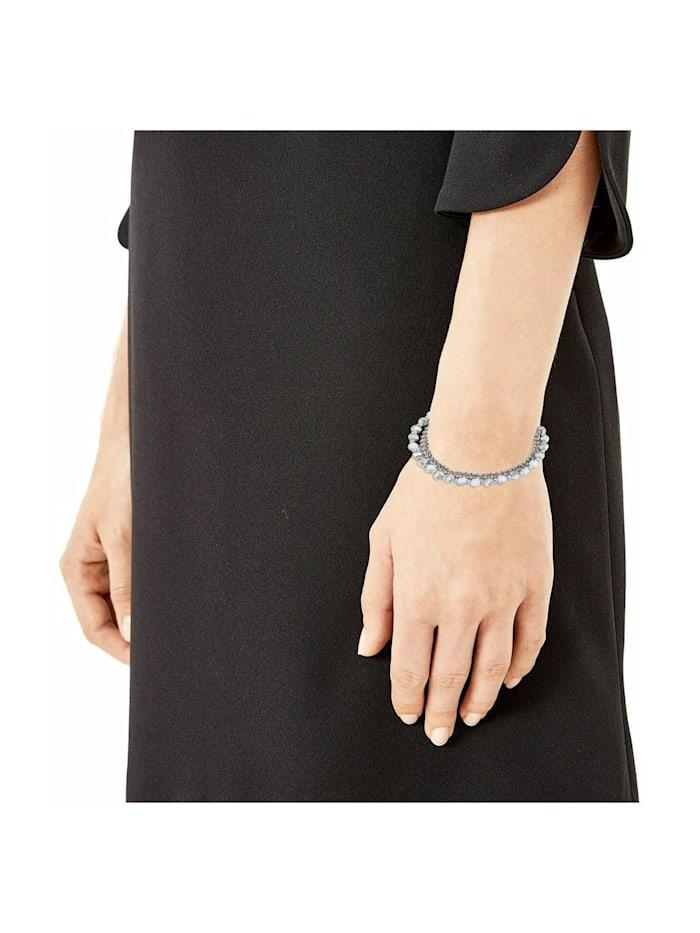 Mehrreihige Gliederarmkette für Damen, Edelstahl, Glas