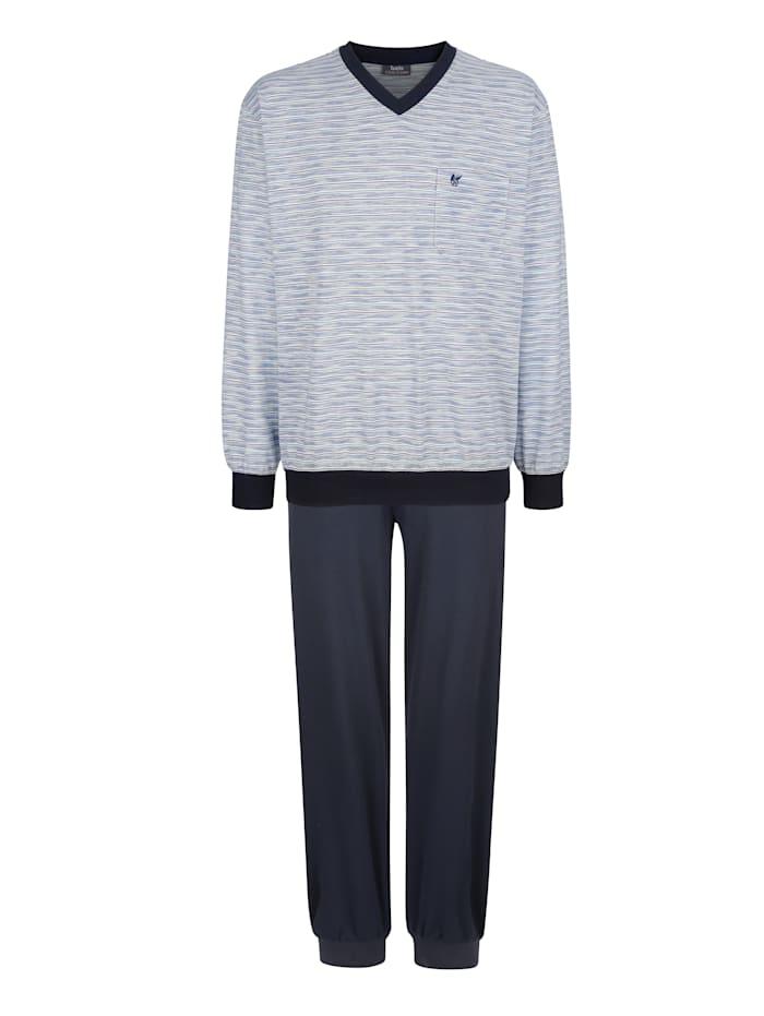 Hajo Schlafanzug in Klima-Komfort-Qualität, Marineblau/Grün