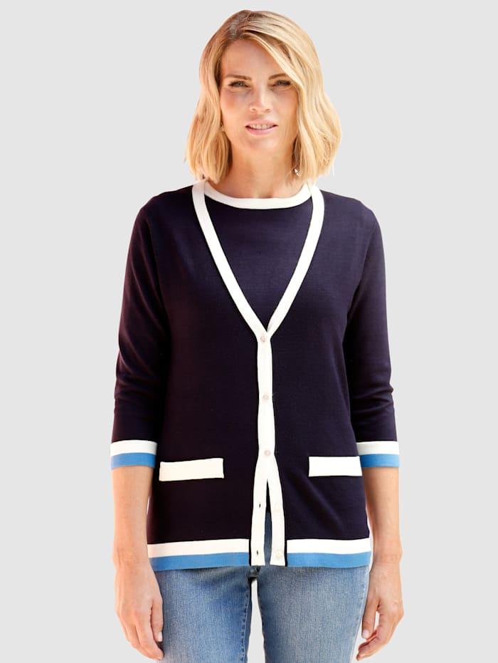 Paola Twinset in kontrastfarbener Verarbeitung, Marineblau