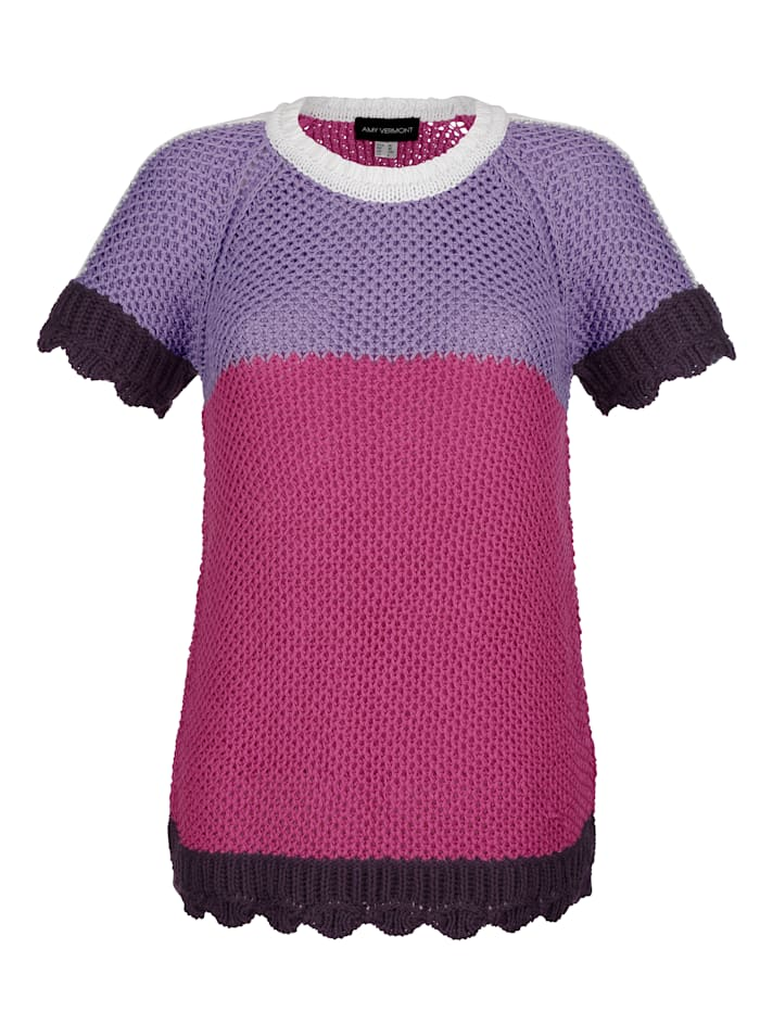 Pullover in Handstrick-Optik mit Color-Blocking