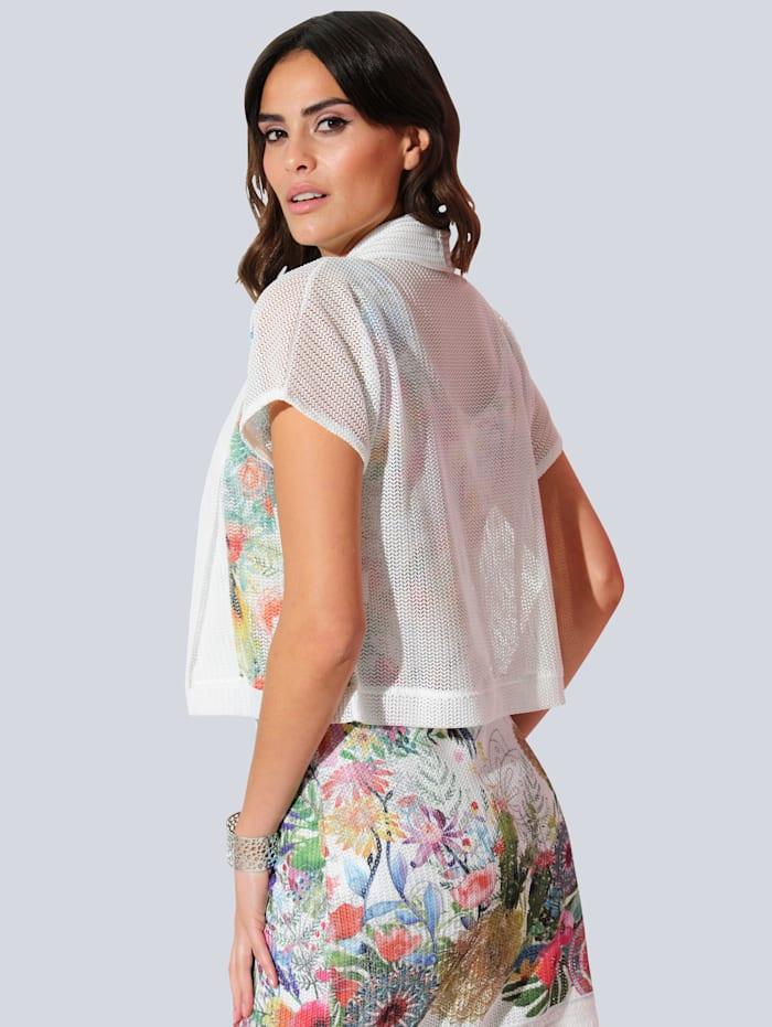 Shirtjacke partiell bedruckt im floralem Dessin