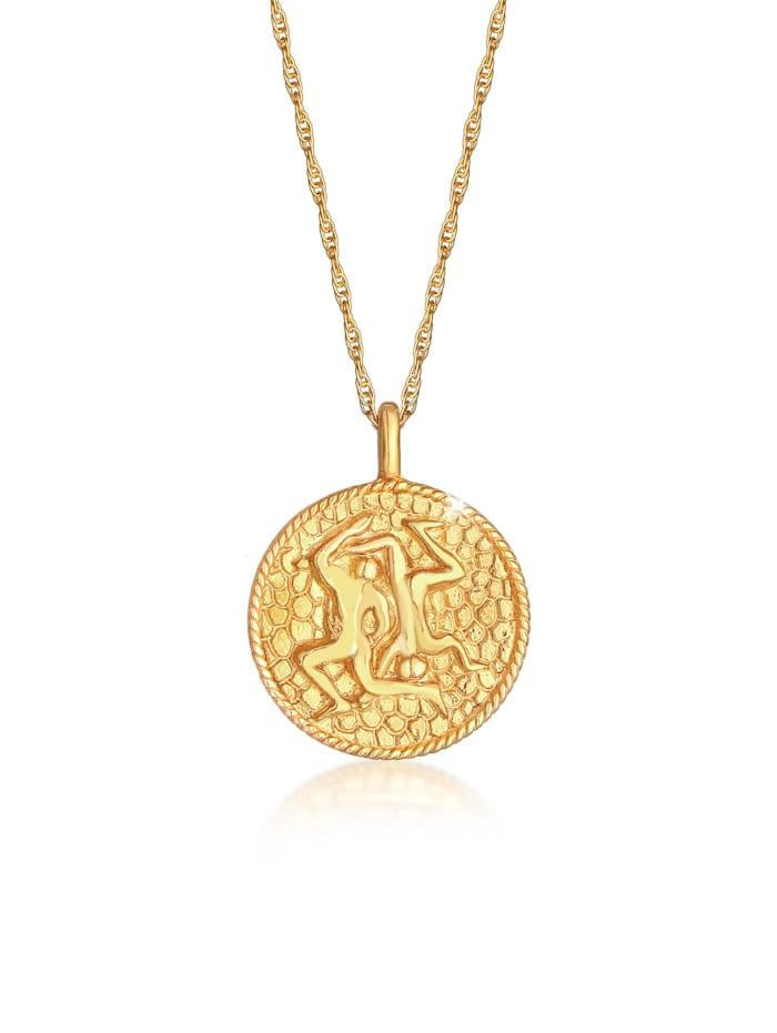 Elli Halskette Sternzeichen Zwilling Münze 925 Silber, Gold