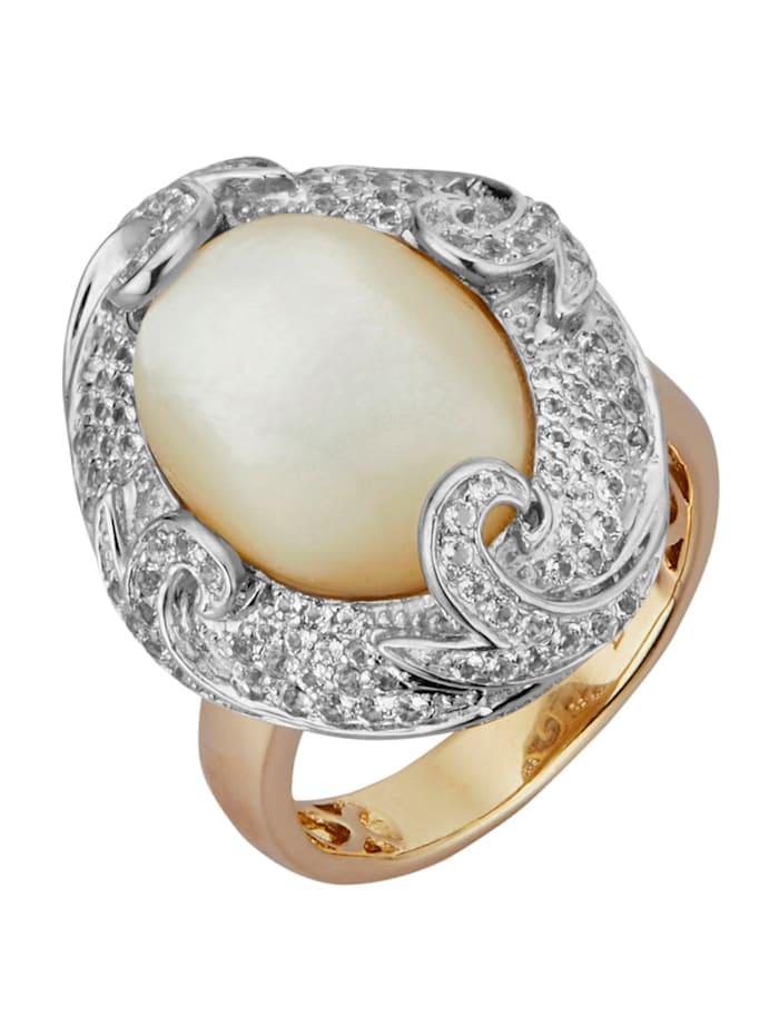 Diemer Perle Damenring, Weiß