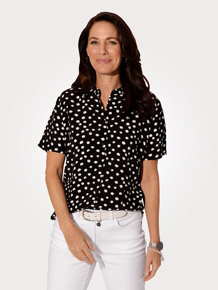 MONA Bluse mit durchgängiger Knopfleiste, Schwarz/Weiß