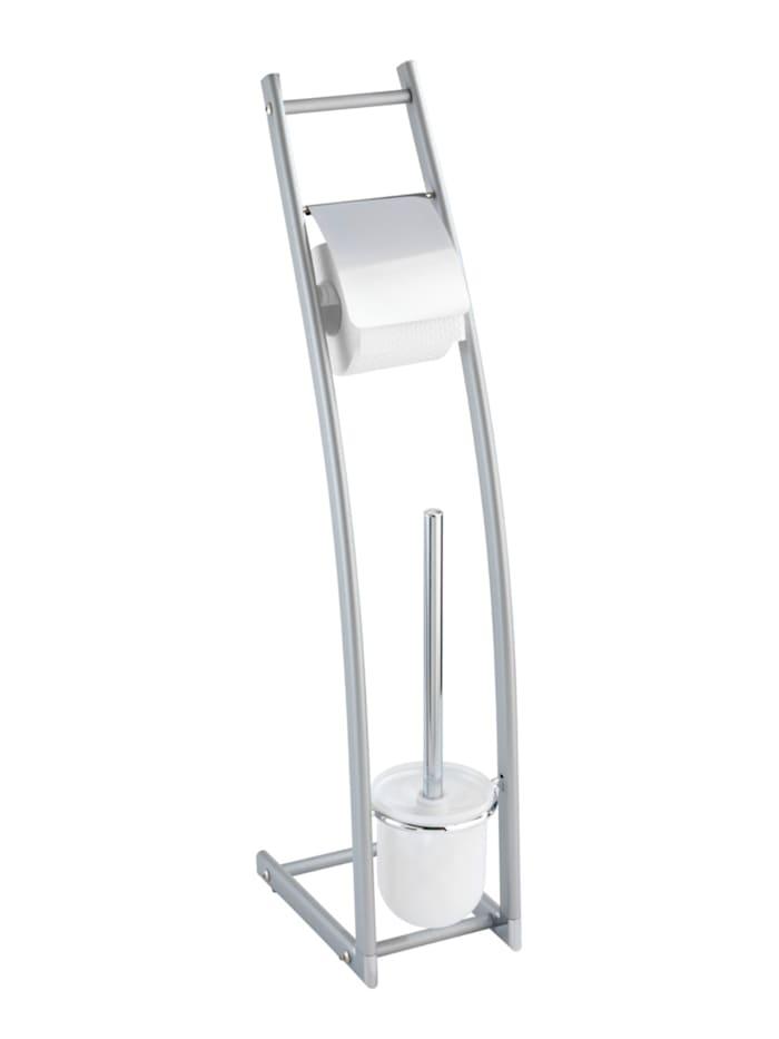 Wenko Aluminio Stand WC-Garnitur Alicante, Gestell: Silber matt, WC-Bürsteneinsatz: Satiniert