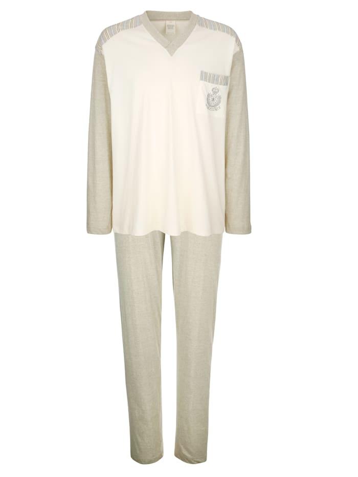 Götting Pyžama z prírodnej bavlny, Prírodná biela
