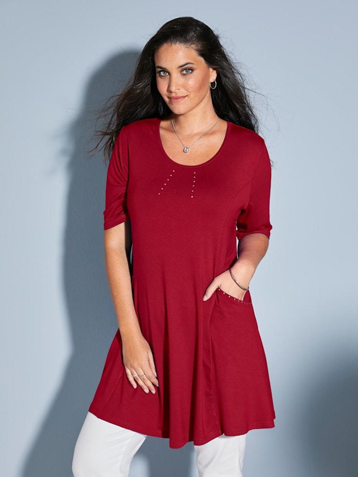 MIAMODA Longshirt mit Nieten am Ausschnitt und an den Taschen, Rot